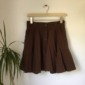 Chocolate Brown Button Down Circle Skirt